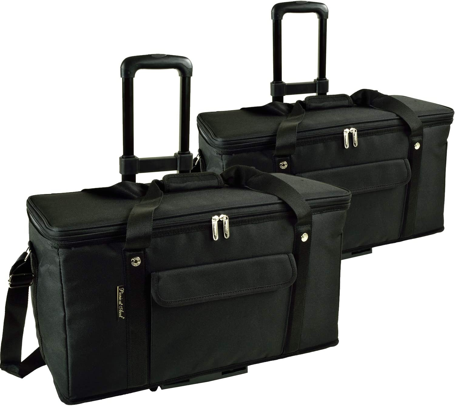 Picnic at Ascot Ultimate Travel Cooler with Wheels- 36 Quart - Combines Best Qualities of Hard & Soft Collapsible Coolers - Black - Pack of 2