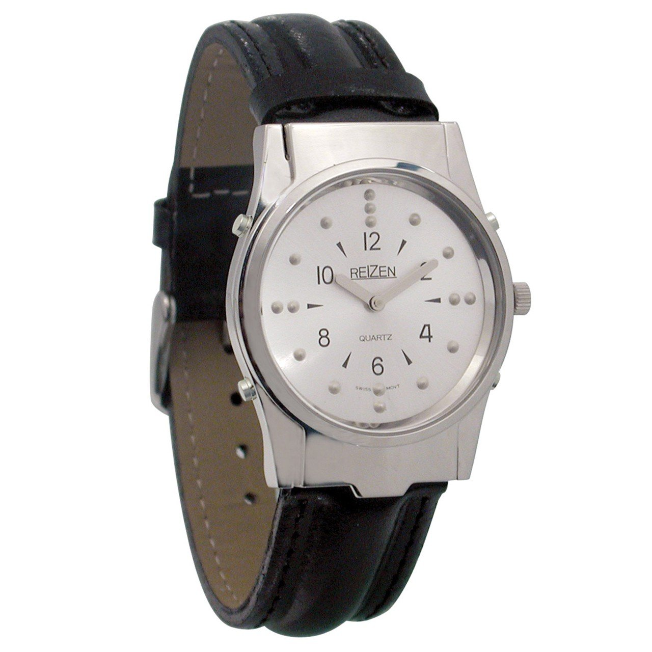 Mens Chrome Braille and Talking Watch - Leather Band by Reizen