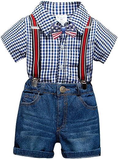 Fairy Baby Conjunto de Ropa para niños, Caballeros, niños, Camisa a Cuadros con Tirantes Cortos de Mezclilla: Amazon.es: Ropa y accesorios