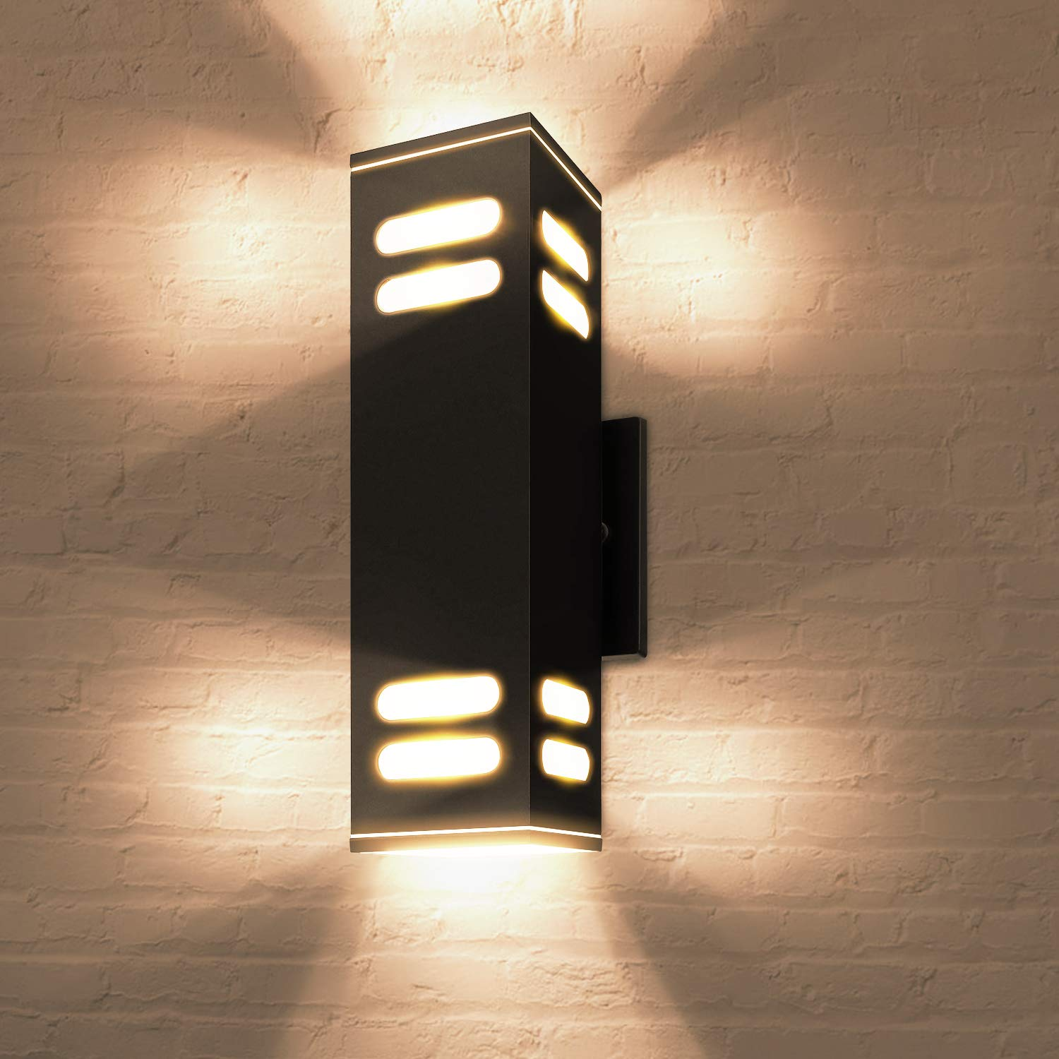Etl Listed Outdoor Wall Light Fixtures Bulbs Included Jackyled 60w Modern Wall Sconce Exterior Porch Light Frosted Aluminum Finish Waterproof Wall Mount Lamp For Studio Front Door Patio 1 Pack Black Buy Online