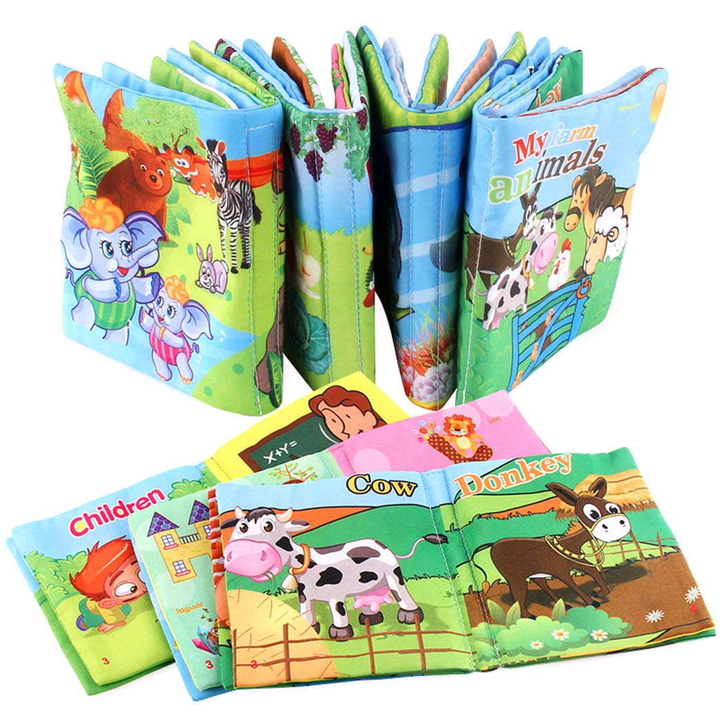 Xiaoyu Livres de bébé, premier livre de bébé, tissu non toxique, livres colorés pour enfants, livres éducatifs en tissu doux jouets, jouets de douche de bébé pour garçon et fille