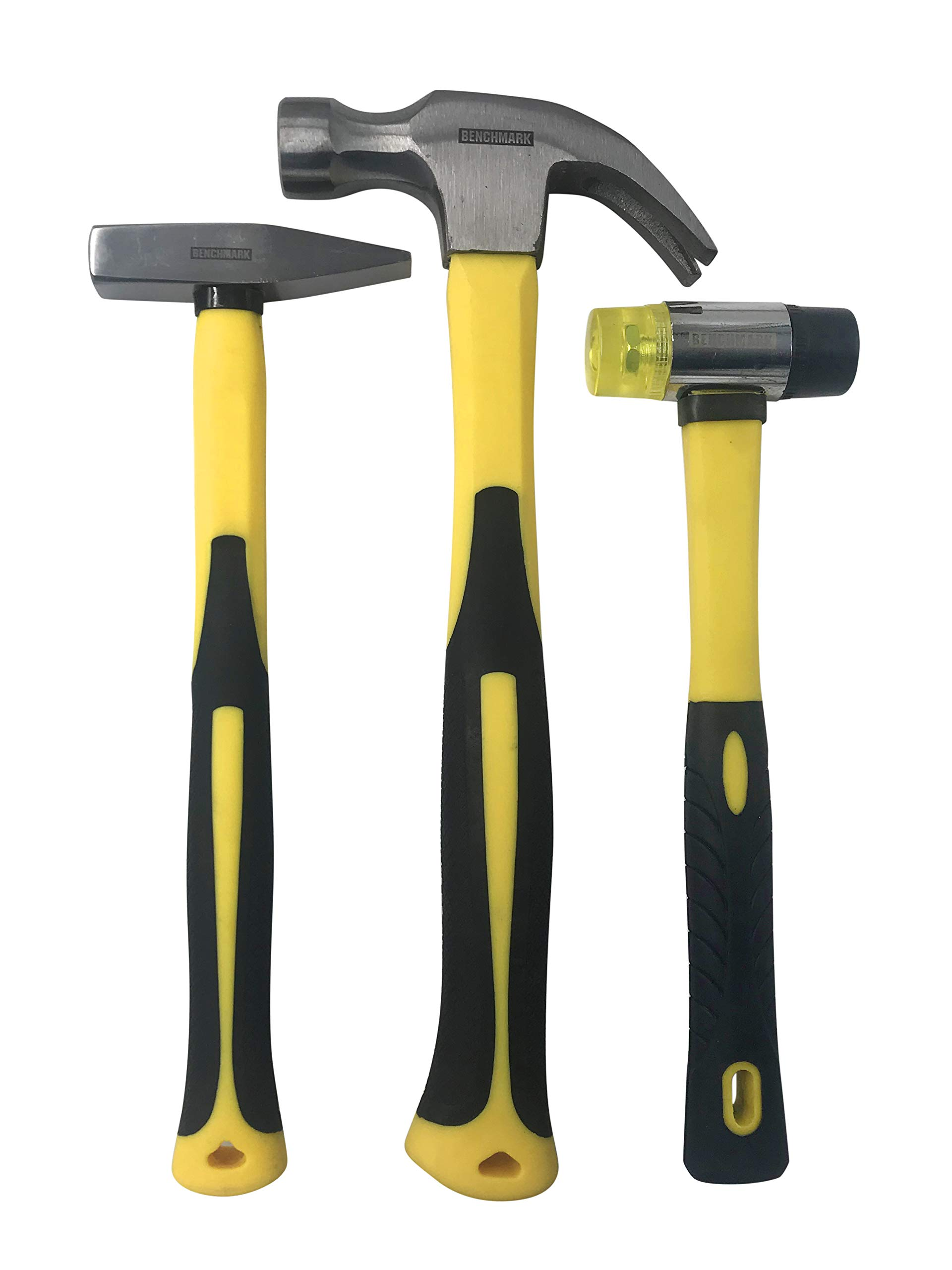 Benchmark - 3 Piece Hammer Set; 16 OZ. Claw Hammer, Double Sided Rubber Mallet and Tack Hammer; Shock Absorbing Rubber Grips, Durable Fiberglass Handles And Polished Steel Heads