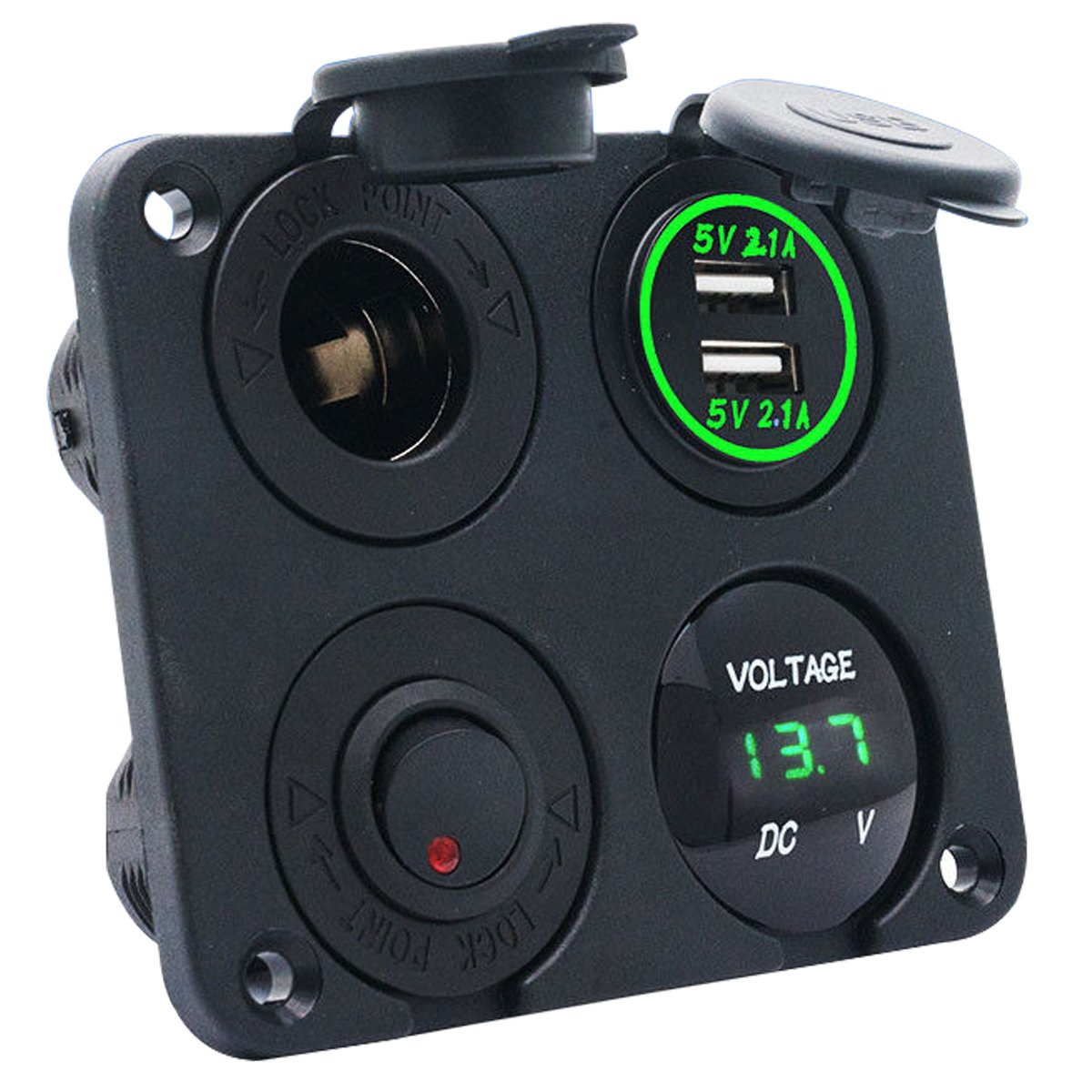 MASO 2 Port USB Charger Panel Mount 3.1A Output Carling, Narva ARB Rocker Switch