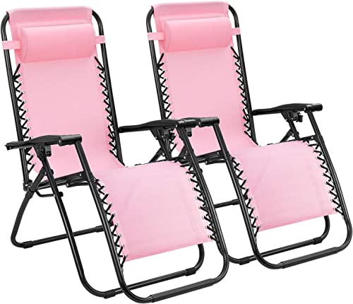 Tuoze Zero Gravity Chairs Adjustable Outdoor Folding Lounge Patio Chairs with Pillow Recliners for Poolside, Beach, Yard Set of 2 Pink