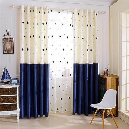 Gwell 1 Piece Voilages Rideau Fenetre Opaque 70 90 Voile Moderne Elegant Decoration De Maison Avec Oeuillets Metal Etoiles Lune 225x140cm Amazon Fr Cuisine Maison