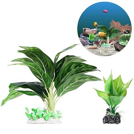 UEETEK 2 Pieza/ Set Plantas de agua para acuarios, Plantas de acuario de plástico frondoso artificial ...