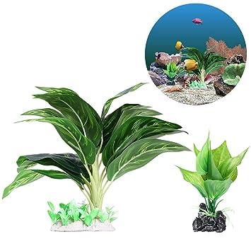 UEETEK 2 Pieza/ Set Plantas de agua para acuarios, Plantas de acuario de plástico frondoso artificial con hojas verdes para la decoración del ...