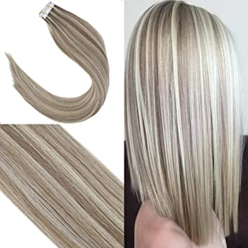Youngsee 14inch Piano Color Tape In Hair Extensions Dirty Blonde Highlight With Blonde 20pcs 100