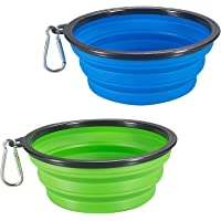 COMSUN 2-Pack Extra Large Size Collapsible Dog Bowl, Food Grade Silicone BPA Free, Foldable…