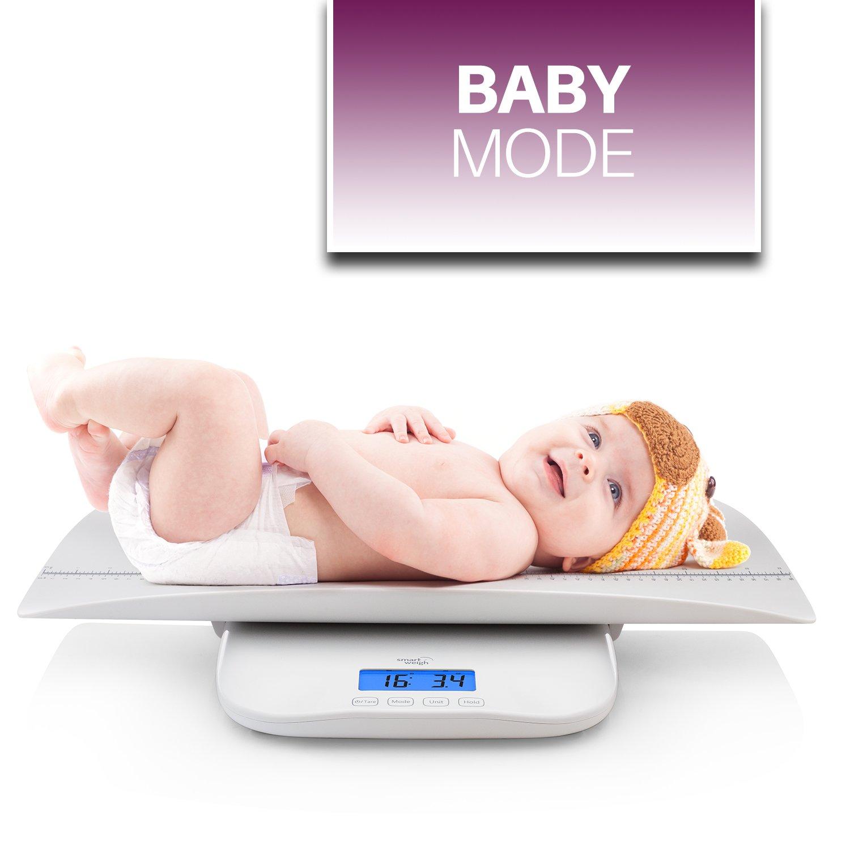 Smart Weigh Digital Baby, Balanza para Niños Pequeños / Adultos con 4 Modos de Pesaje, Escala Precisa para Bebés, Niños Pequeños, Adultos y Mascotas con ...