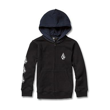 3b925dd93 Volcom Boys' Little Deadly Stone Zip Up Fleece Hooded Sweatshirt, Black  Combo, ...