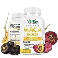 Maca Root Capsules Big 1200mg Size 120 Veggie Caps. More Potent Herbal Benefits....