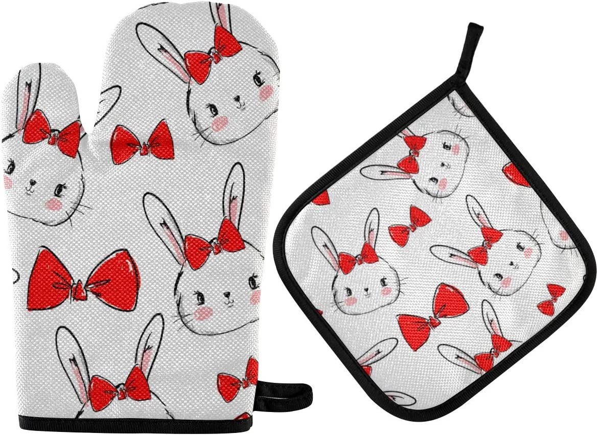DOMIKING Pot Holders Oven Mitts Sets - Cute Bunnies Bow Cooking Gloves Heat Resistant Hot Pads Non-Slip Potholders for Kitchen Baking Grilling