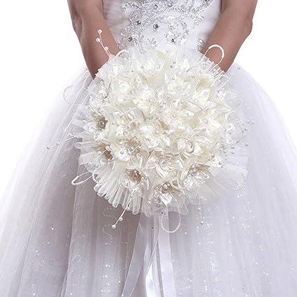 gamme complète d'articles matériaux de qualité supérieure braderie Freahap Bouquets de Mariée avec Perles Bouquet Fleur Mariage Elégant Beige