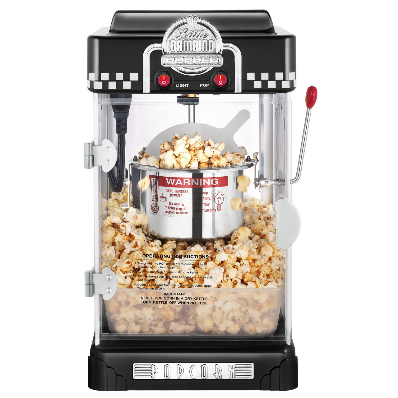 Great Northern Popcorn Company 6072 GNP Little Bambino BlackGNP Little Bambino 2-1/2 Ounce Retro Style Popcorn Popper Machine by Great Northern Popcorn Company (Image #3)