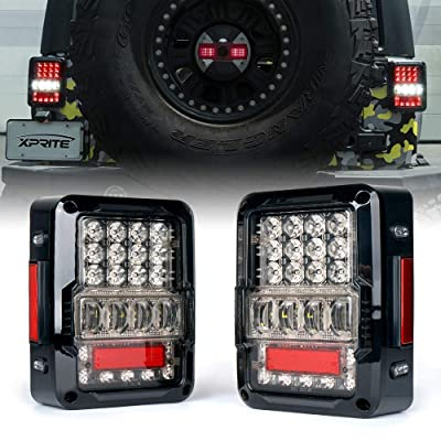 Xprite LED Tail Lights for 2007-2020 Jeep Wrangler JK JKU, High Intensity Led Taillights w/ 4D Clear Lens Parking light, Brake Turn Signal Lamp and Reverse Lamps Function (DOT Approved): Automotive
