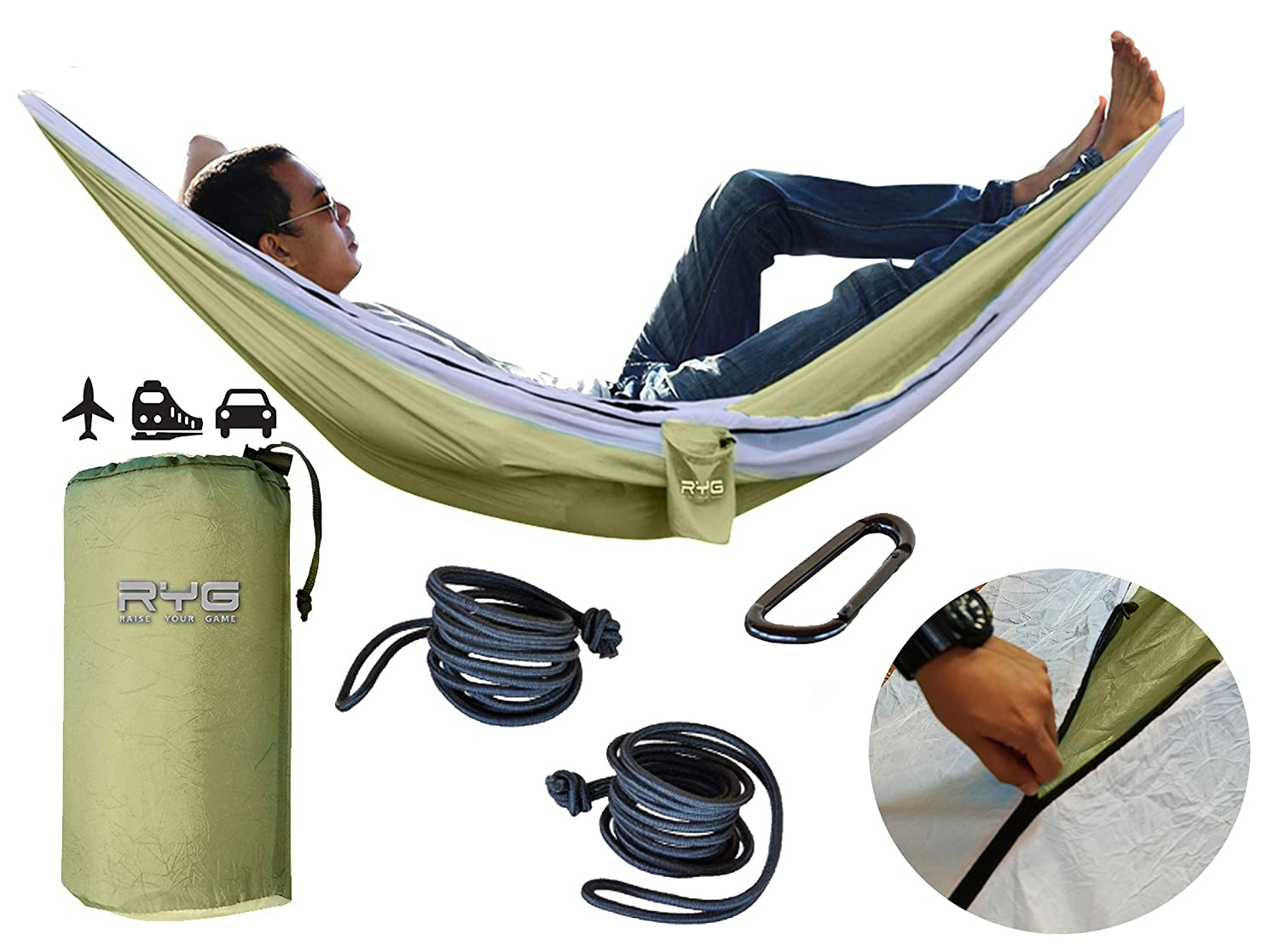 Raise Your Game RYG Portable Hammock, Heavy Duty Lightweight Parachute Quality Fabric, Indoor Outdoor Weatherproof Single Double Hammocks, Adjustable Camping Swing for Hiking Travel Olive Green