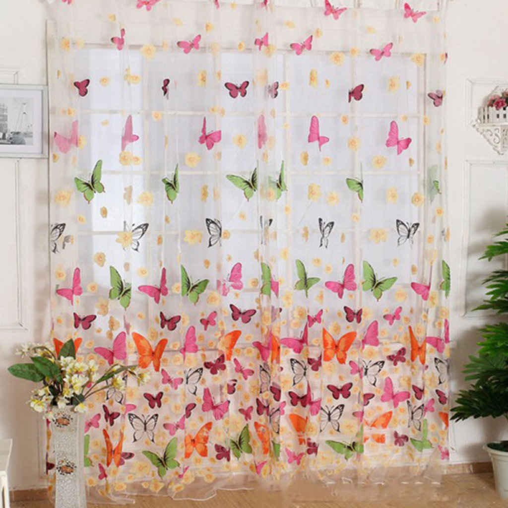 Butterfly Print Sheer Window Panel Curtains Room Divider New for Living Room