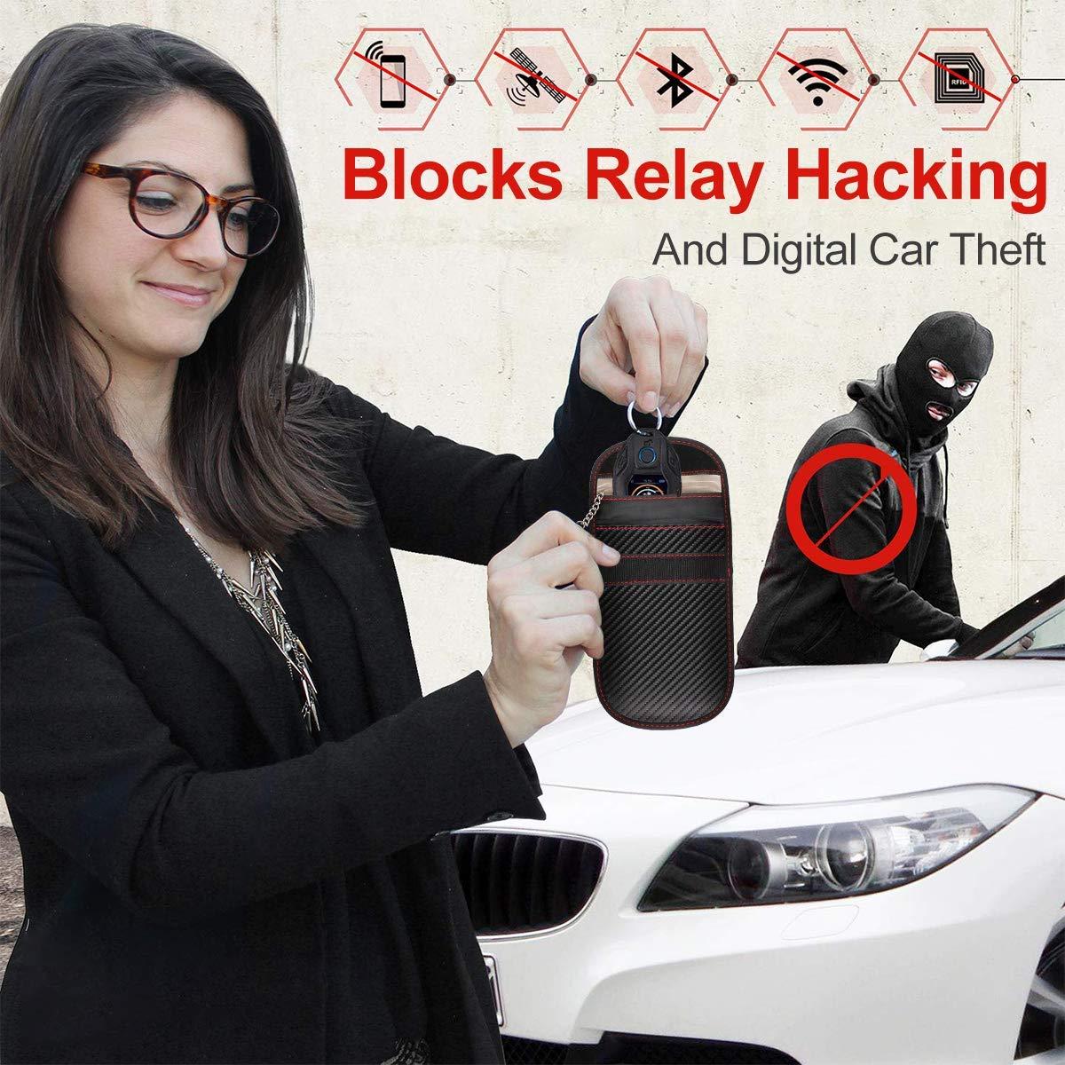 Large Faraday Bag for Cell Phone 2pcs Faraday Bag Key Fob Signal Blocking Anti Theft Keys Safe Signal Blocking Bag Keyless Entry RFID Fob Key Security Box Protector Signal Blocking Pouch for Car