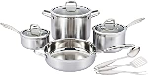 Nevlers Multi-Clad Stainless Steel Cookware Sets - 10 Piece Pots and Pans Set - Makes for a Great Cooking Set for Your Kitchen - It is Dishwasher Safe Too!