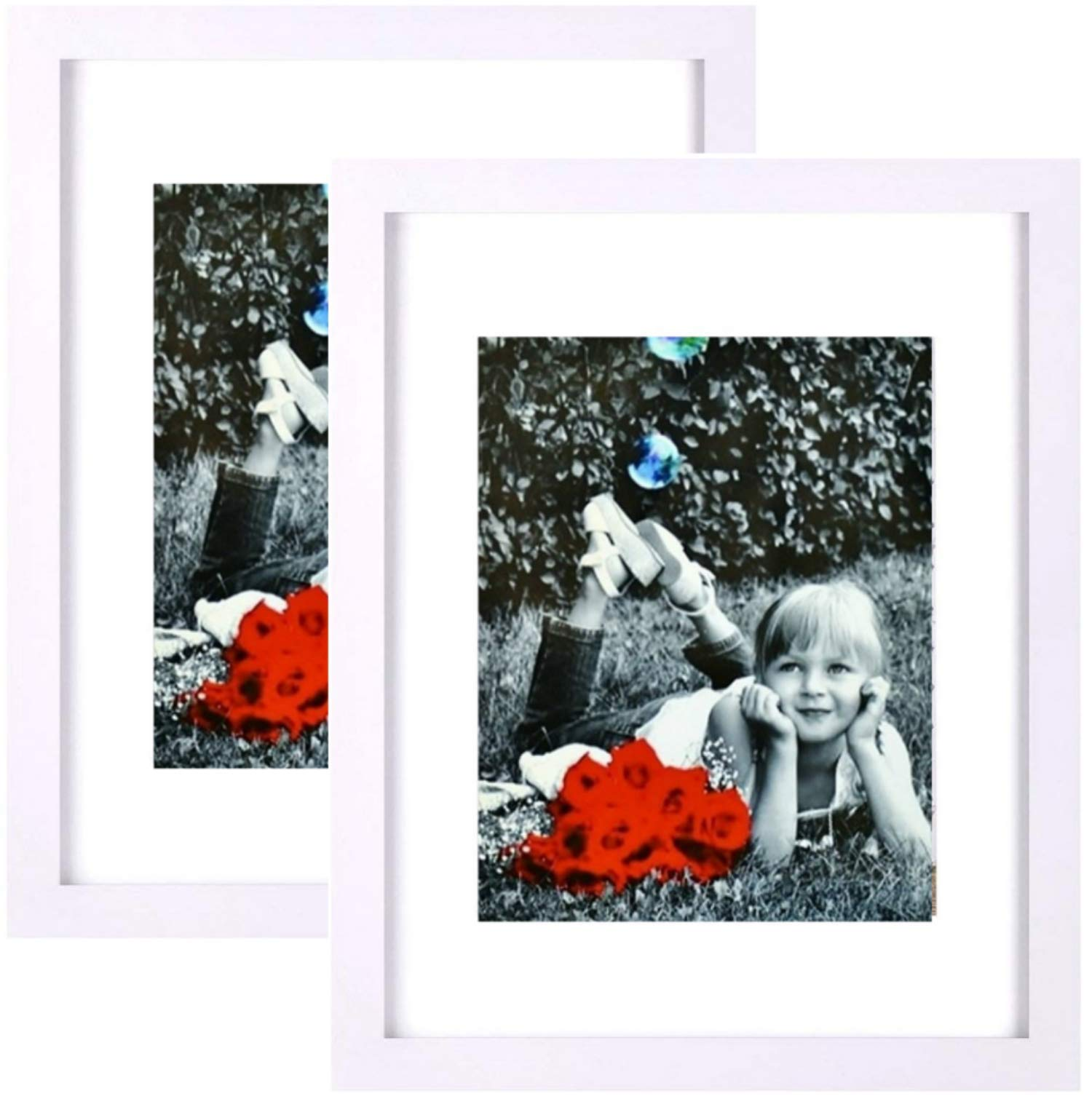Tasse Verre 11x14 White Picture Frame (2-Pack) - HIGH Definition Glass Front Cover - Displays 11 by 14'' Picture w/o Mat or an 8x10 Photo w/Mat - Vertical or Horizontal Mounts & Comes Ready to Hang by Tasse Verre