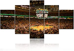 Home Decor for Boston TD Banknorth Garden Arena HD Prints on Canvas NBA Paintings Modern Pictures 5 Panel Artwork House Decorations for Living Room,Framed Gallery-wrapped Ready to Hang - 60''Wx32''H