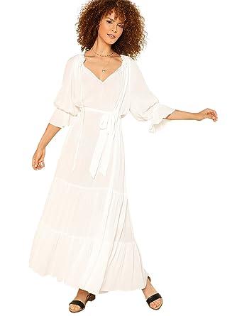 e2859aad6ba Milumia Women's Bohemian Drawstring Waist Lace Splicing White Long Maxi  Dress XXL Beige