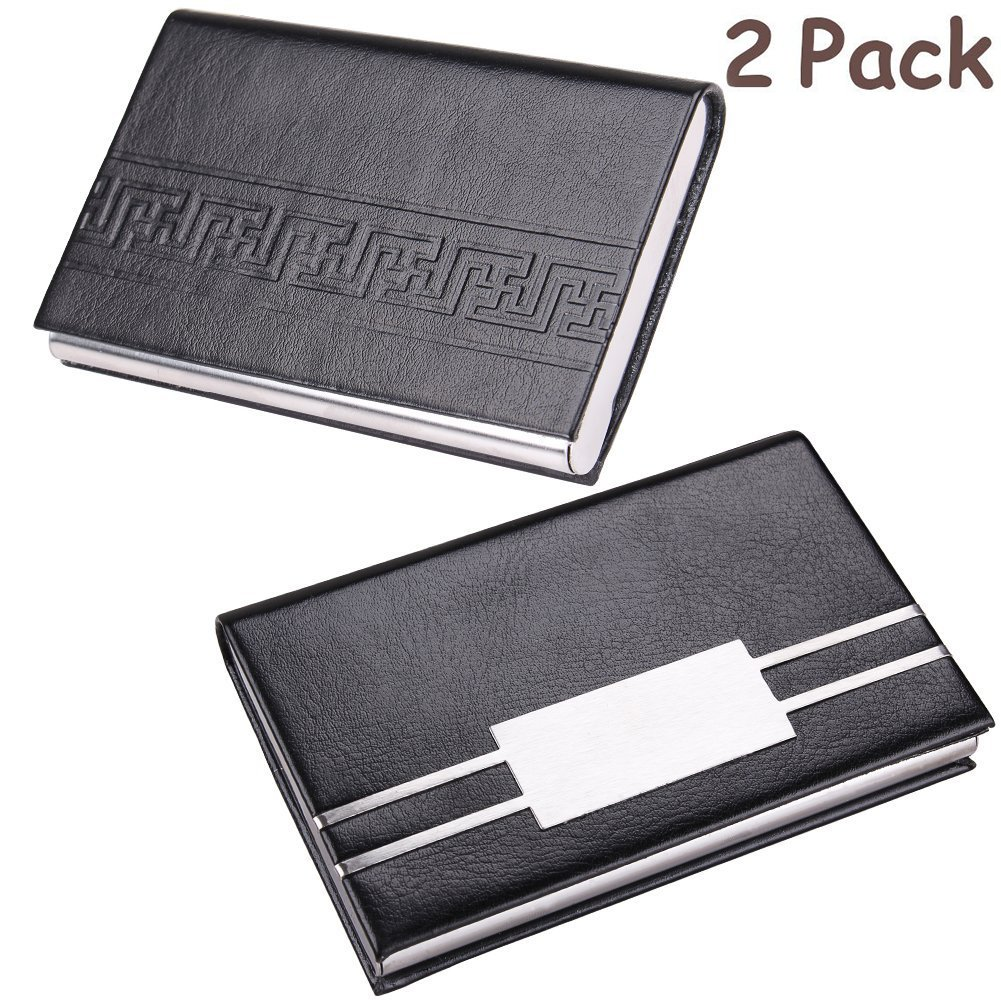 2 Pack Professional Business Card Holder Leather Credit Card Case with Magnetic Stainless Steel Closure, (Retro) ZOHUMI