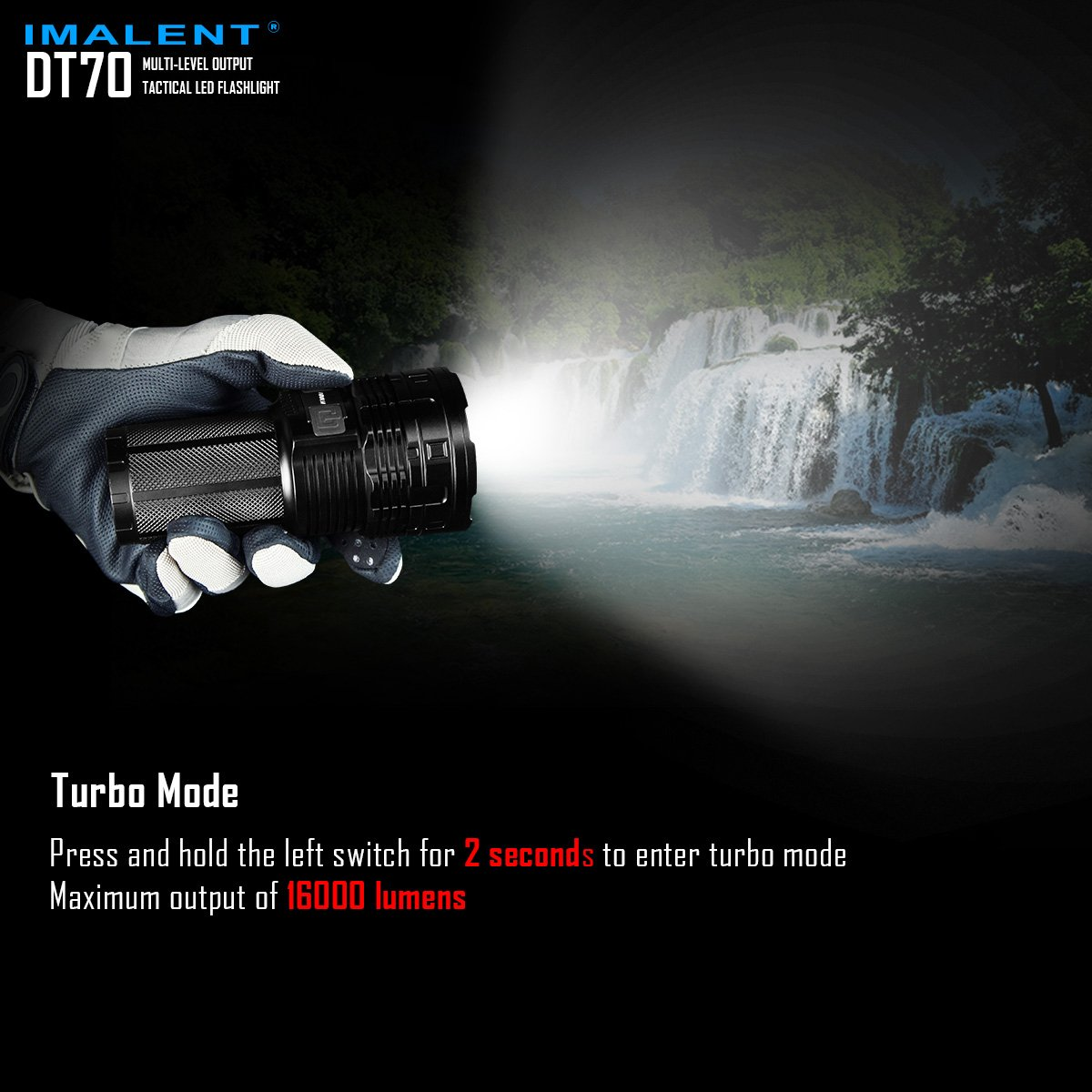 IMALENT DT70 Flashlights High Lumens Rechargeable 16000 Lumens 4 Pcs CREE XHP70 LEDs, Portable Handheld Torch by IMALENT (Image #8)