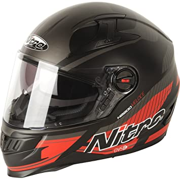187201M07 - Nitro N2200 Veloce DVS Motorcycle Helmet M Satin Black Gun Red (07)