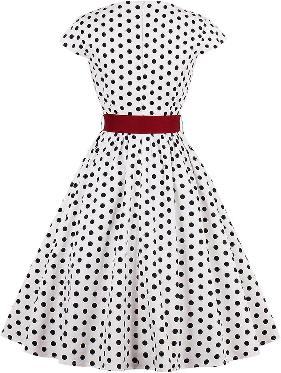VKStar® Vintage 16s Cocktailkleid Kurzarm Abendkleid mit Punkte