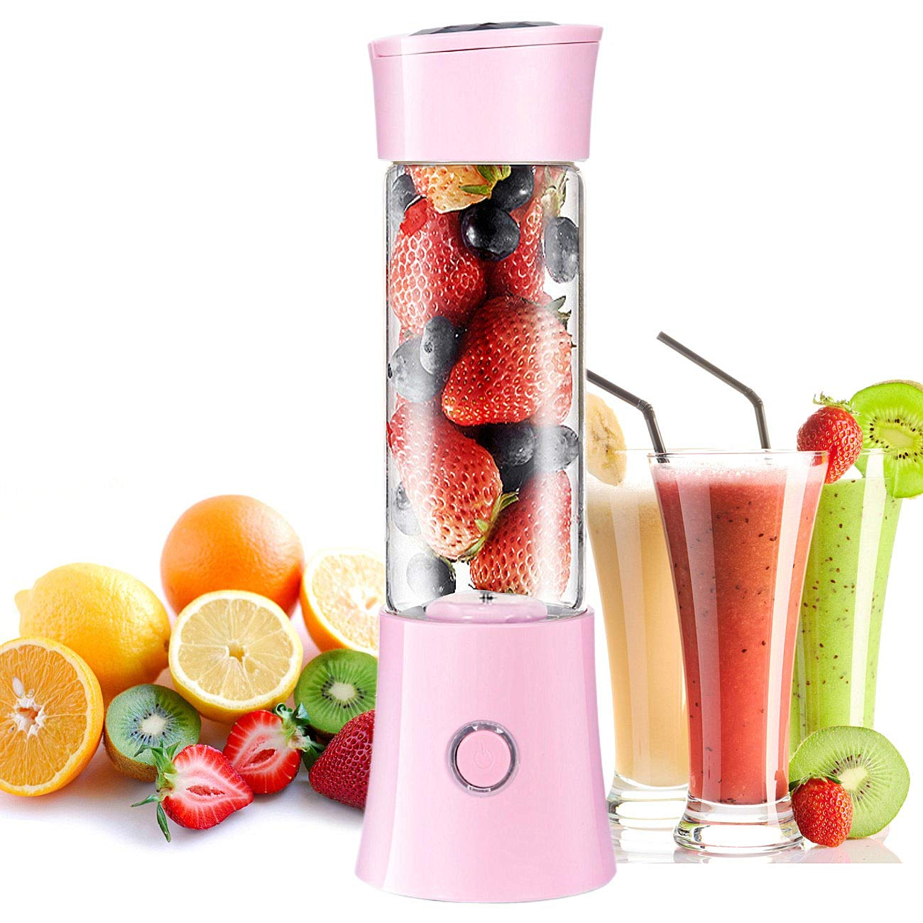 MusicSnail Portable Blender Small Personal Travel Juicer Fruit Mixer Glass Cup for Shakes Smoothies Protein Baby Food Mute Stainless Steel 6-Blades USB Rechargeable 4000mAh Battery BPA Free FDA FCC(pink)