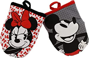Disney Kitchen Neoprene Mini Oven Mitts, 2pk-Heat Resistant Oven Gloves with Insulation Ideal for Handling Hot Kitchenware-Non-Slip Grip, Hanging Loop, 5.5 x 7 Inches - Minnie Bows and Mickey Dots