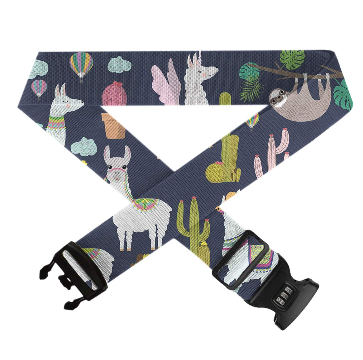 Alpaca Sloth and Catus,Heavy Duty Bag Straps 3 Dial Approved Lock for Extra Luggage//Travel//Business 1 Pack GLORY ART Suitcase Belt Straps