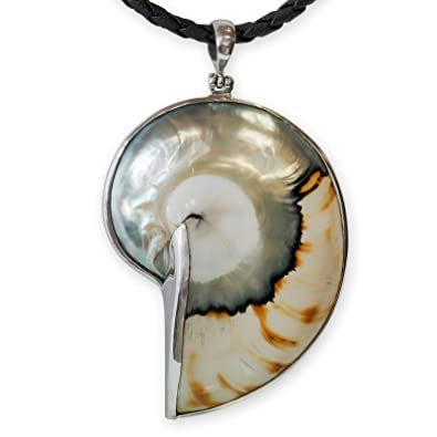 Large Black NAUTILUS SHELL /& 925 Sterling Silver Pendant Jewelry