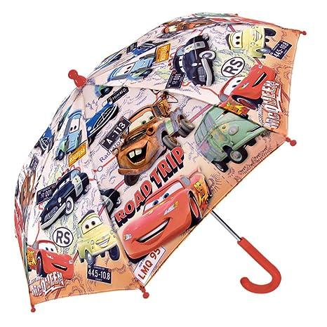 Paraguas Disney Cars Niño - Estampado Rayo Mcqueen - Paraguas Coloreado Resistente Antiviento y Largo -