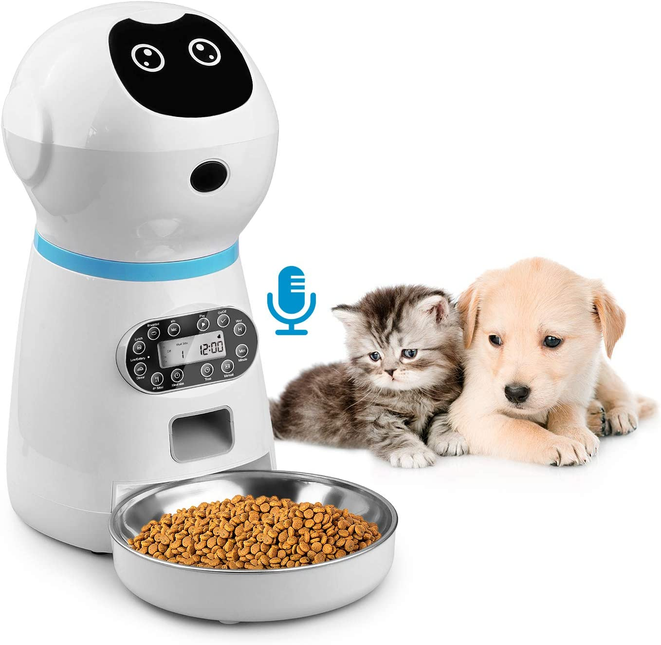 EZMioo Automatic Cat Feeder,3.5L Auto Dog Food Dispenser with Stainless Steel Food Bowl,1-4 Meals per Day Voice Recorder and Portion Control for Small & Medium Pets