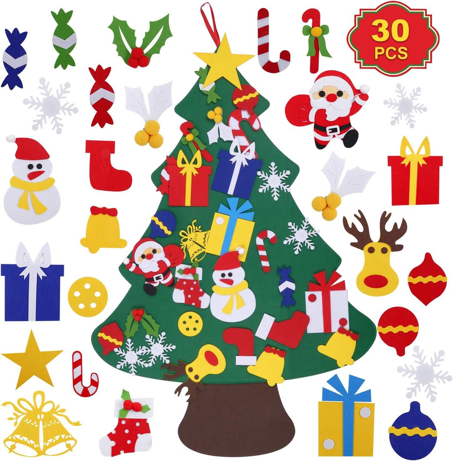 SHEMKAR DIY Felt Christmas Tree DIY Wall Christmas Tree with 30PCS Detachable Ornaments Xmas Wall Decor for Kids New Year Handmade Christmas Door Wall Hanging Decorations