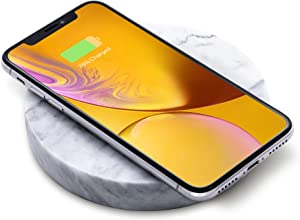 Natural Stone, Fast Wireless Charger by Eggtronic - Italian Designed Qi Certified Charger for iPhone, Galaxy, Note, AirPods 2, AirPods Pro, Galaxy Buds, Pixel Buds - White Marble