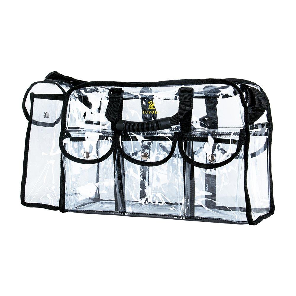 Amazon.com : LUVODI Clear Makeup Bag Cosmetics Storage Bag Travel Pro Makeup Artist Bag with Detachable Shoulder Strap, PVC Toiletry Vanity Organizer with 6 ...