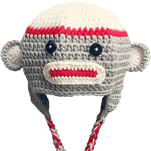 d4d356b8997 Amazon.com  Thenice Toddler Baby Monkey Ear Flap Hat Handmade Cap ...