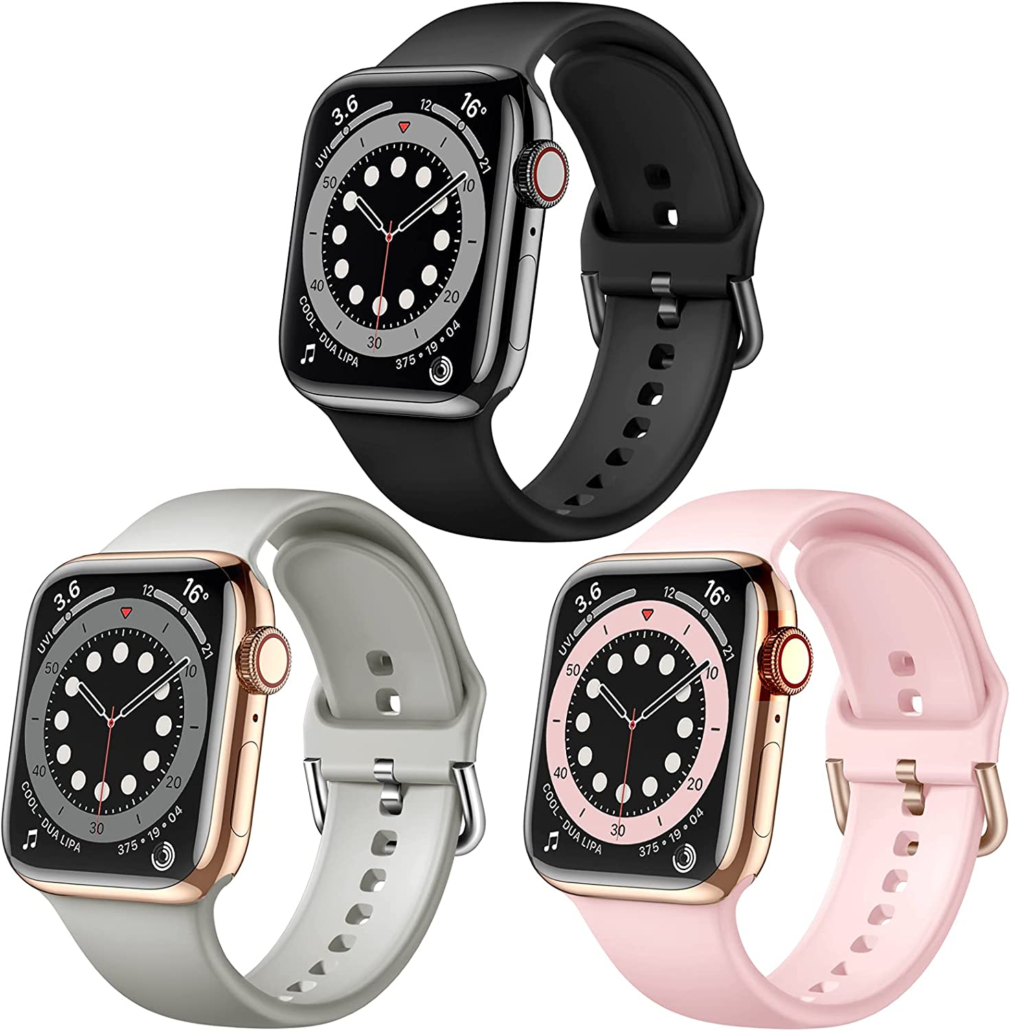Maledan Compatible with Apple Watch Band 40mm 38mm 42mm 44mm Women Men, 3 Pack Soft Silicone Sport Bands Replacement Strap Accessories for iWatch Series SE 6 5 4 3 2 1, Black/Grey/Pink