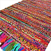 Eyes of India - 3 X 5 ft Colorful Woven Chindi Rag Rug Indian Bohemian Boho Decorative