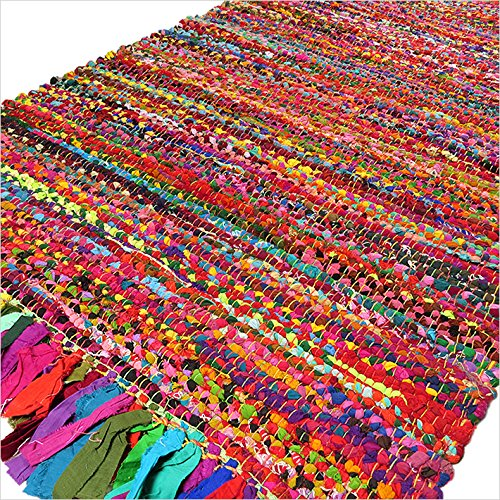 Eyes of India – 3 X 5 ft Colorful Woven Chindi Rag Rug Indian Bohemian Boho Decorative