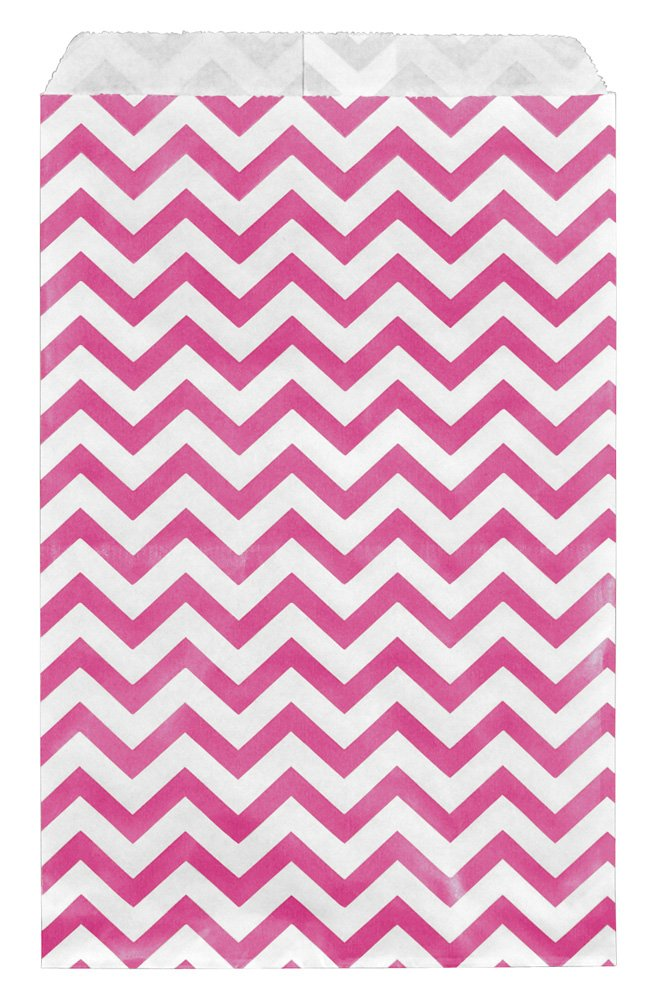 "200 pcs Pink Chevron Paper Gift Bags Shopping Sales Tote Bags 6"" x 9"" Zig Zag Design-Caddy Bay Collection"