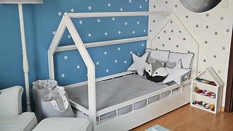 Lit Maison Cabane 2 En 1 Avec Barreaux Chambre D Enfant Bois Naturel 160x80 Cm Blanc