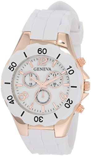 Geneva Womens AMZ1015 Rose Gold White Analog Polyurethane Watch