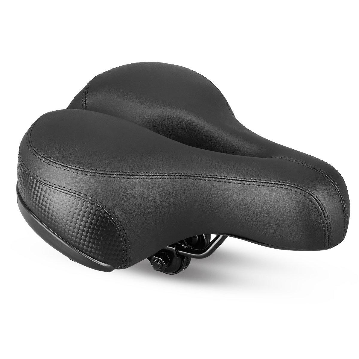 Techno Gel Wide End Comfort Gel Shock Absorbers Womens Bike Big Bum Saddle Black