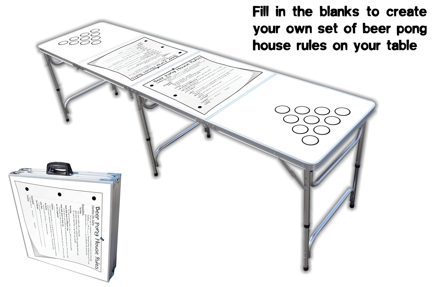 8-Foot Professional Beer Pong Table w/Cup Holes - House Rules Graphic