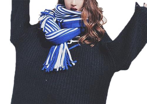 Invierno Mujer Tejer Bufanda Chal Sección Larga Engrosamiento Cálido Moda Rayas Bufanda,2-OneSize
